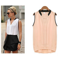 Latest Fashion Summer Loose Women Long Casual Chiffon Stitching Style Blouses Sleeveless V Neck Lady Tops