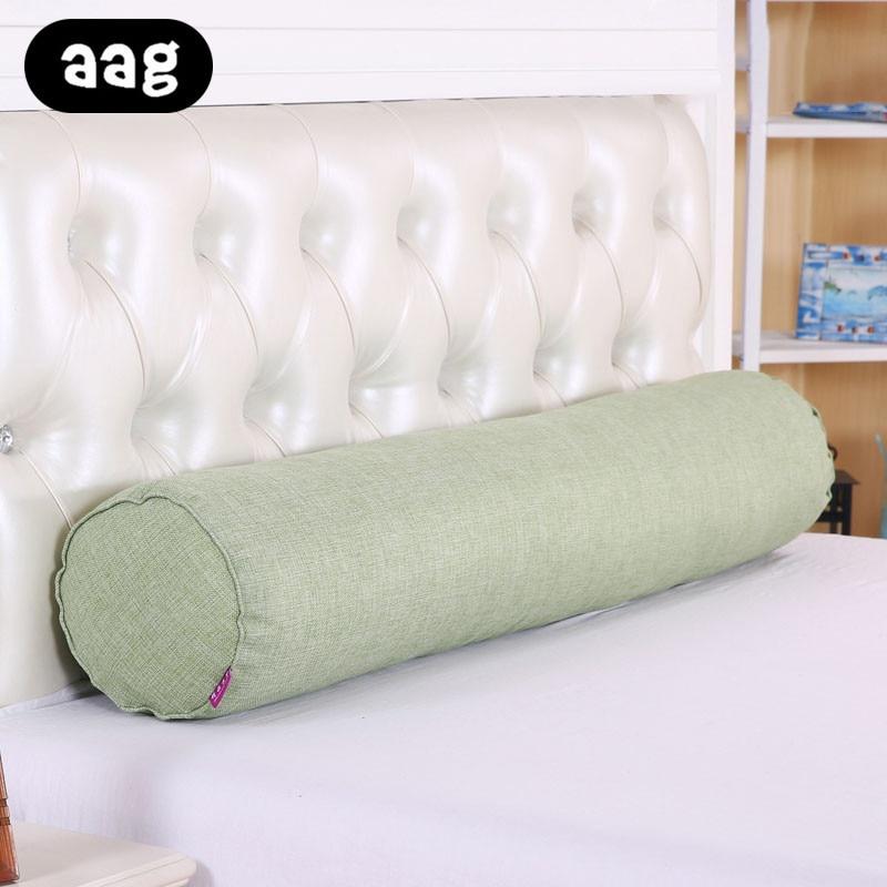 Aag Solid Long Throw Pillow Cotton Linen Cervical Vertebra Bed Candy Cylinder Waist Bedding Car Sleeping