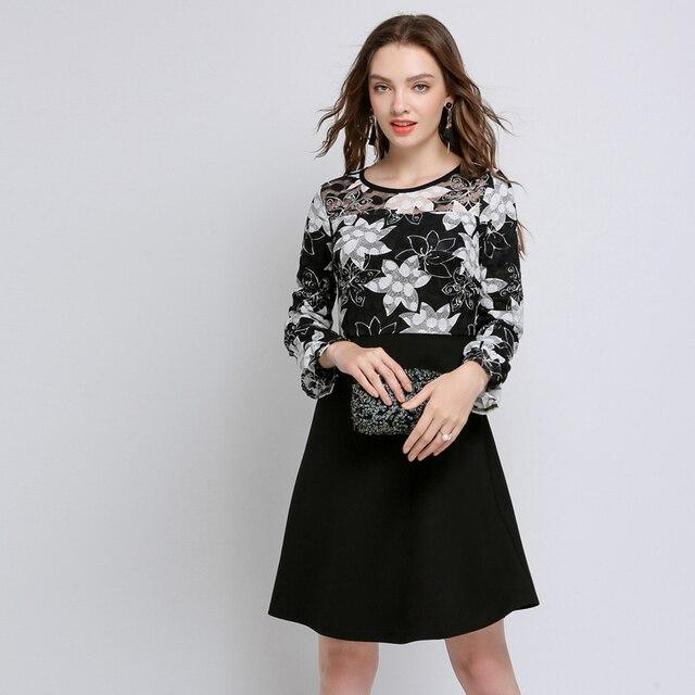 Lace Black Flower Print Patchwork Autumn Full Sleeve Dresses Women Plus Size 2018 Female Sexy Elegant Casual Boho Party Dress5XL