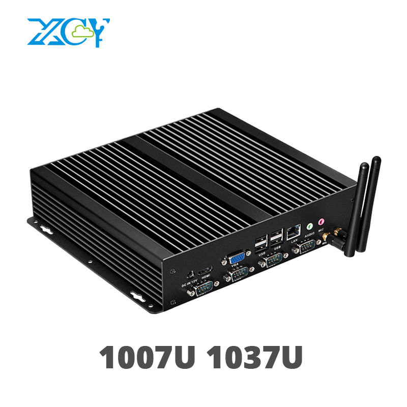 XCY Fanless Mini PC with Dual Gigabit LAN 4 Serial RS232 COM Ports 8 USB HDMI VGA Intel Celeron 1037U 1017U Windows 10 Linux ultra cheap fanless mini desktop pc intel celeron 1037u dual core 1 8ghz hdmi vga lan wifi tiny pc