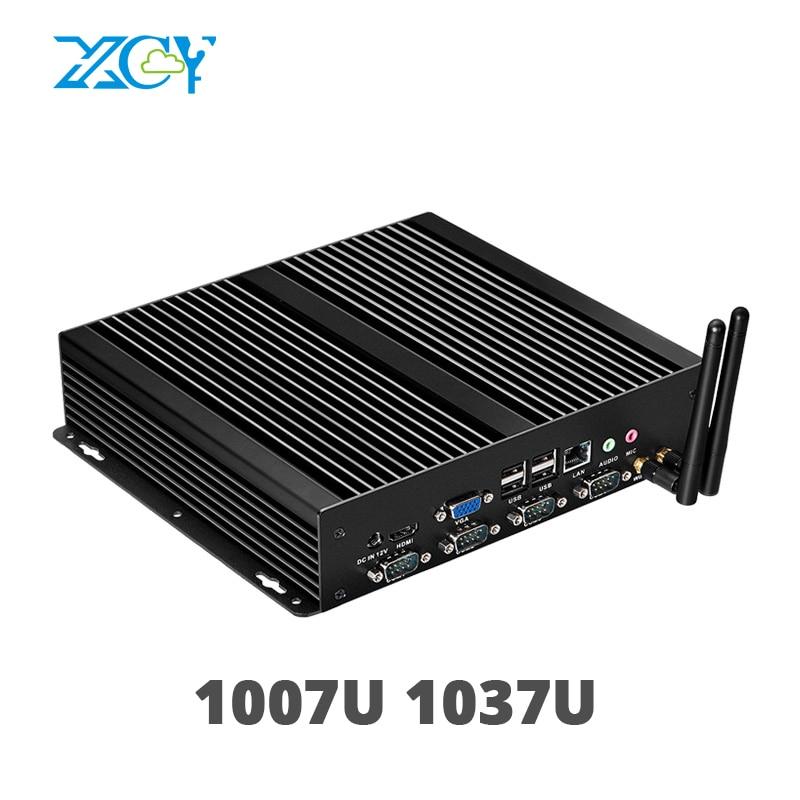 XCY Mini PC Fanless Mini PC con Dual Gigabit LAN 4 Seriale RS232 Porte COM 8 USB HDMI VGA Intel Celeron 1037U 1017U Finestre 10 Linux
