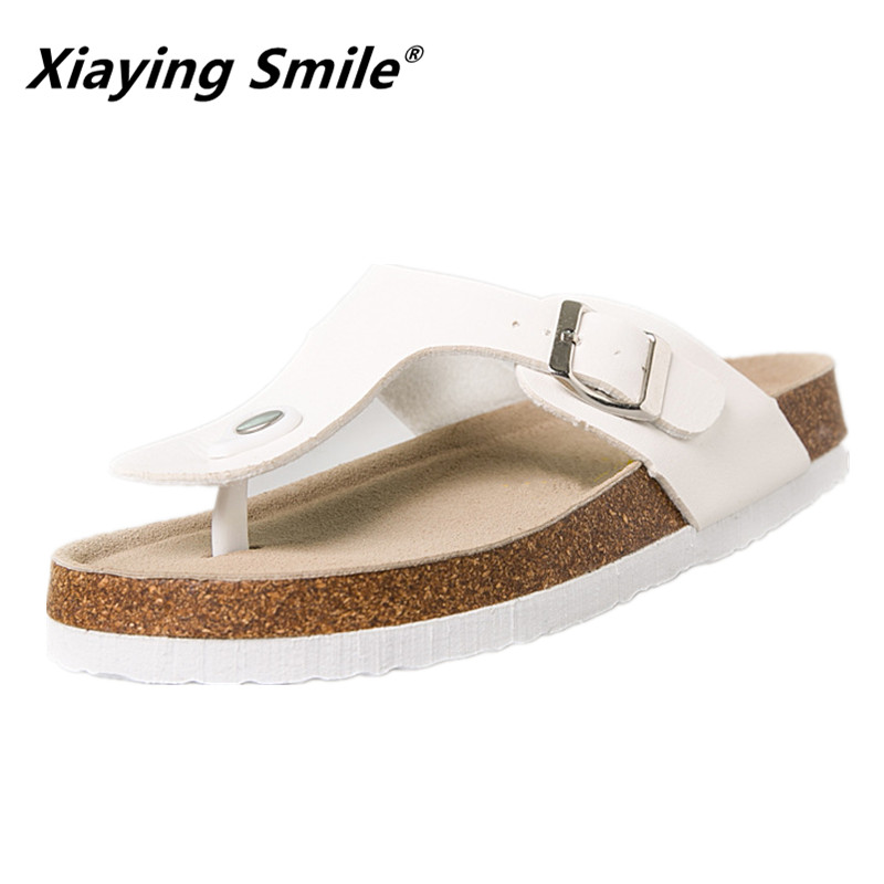 Xiaying Smile Flat Sandals Slippers Single Buckle Summer Casual Flip Flops Beach Top Quality Fashion Genuine Leather Slippers