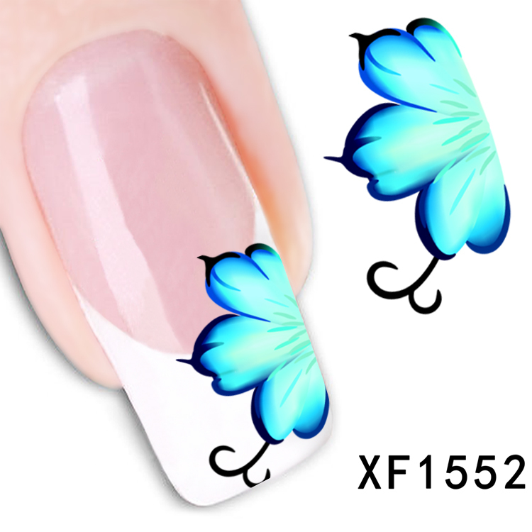 YZWLE 1 Sheet New Arrival Water Transfer Nail Art Stickers Decal Beauty Blue Flowers Design Manicure Tool 1 sheet beautiful nail water transfer stickers flower art decal decoration manicure tip design diy nail art accessories xf1408