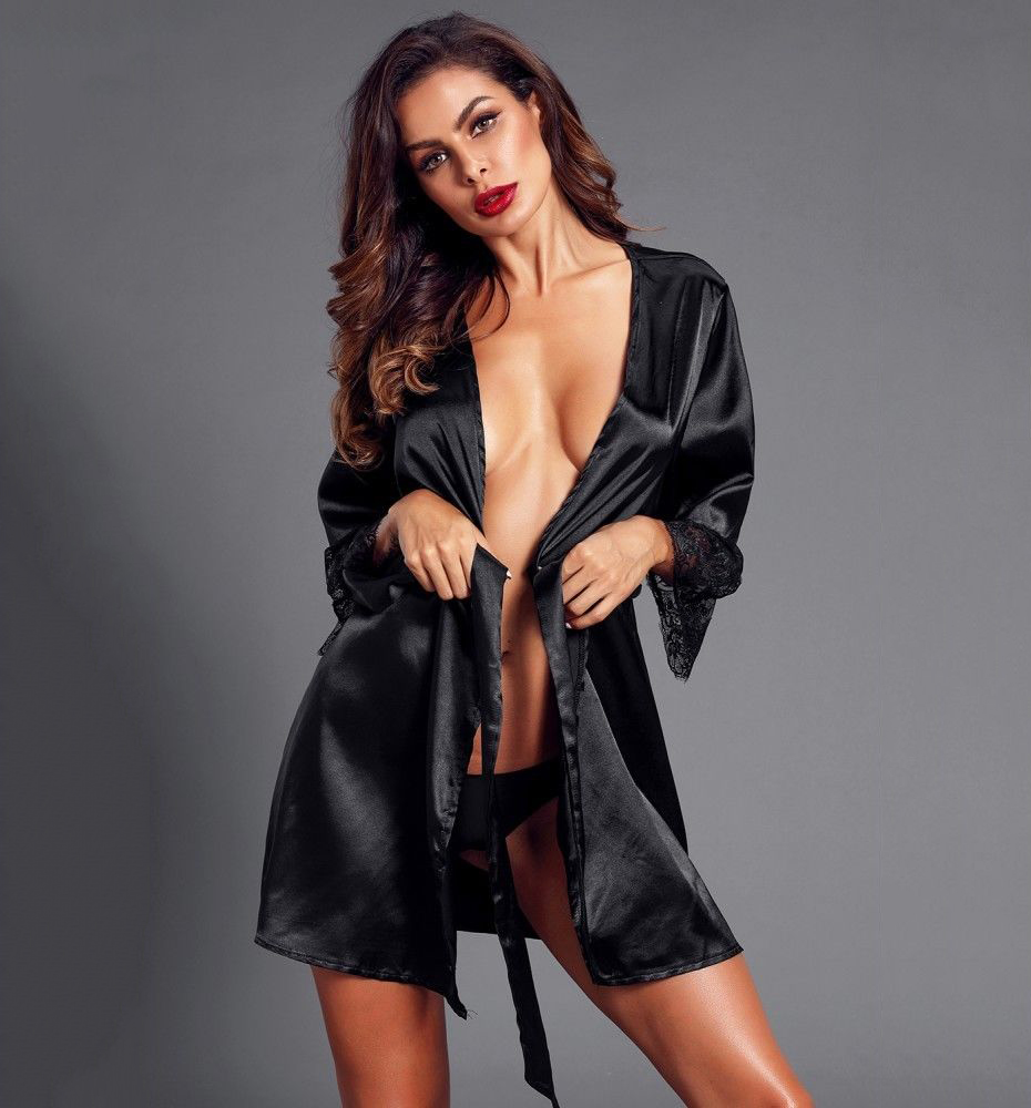 43de63ff4aa Women Sexy Lace Lingerie dressing gown Nightwear bridesmaid robes Underwear  satin robe bathrobe Sleepwear vintage peignoir femme