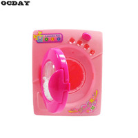Mini Simulation Toys Electric Washing Machine with Light Sound Children Pretend Play House Toy Kids Home Appliance Toy Pink New