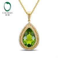 CaiMao 14KT/750 желтое золото 5,55 ct естественно, если хризолита и 0,32 КТ полный разрез Алмазный Обручение украшение подвеска с драгоценными камнями