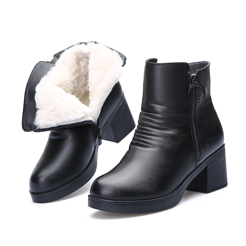 2018 New Winter Warm Comfortable Wool Snow Boots Women Shoes Thick with High Heels High Quality Cowhide Leather Boots ankle boot2018 New Winter Warm Comfortable Wool Snow Boots Women Shoes Thick with High Heels High Quality Cowhide Leather Boots ankle boot