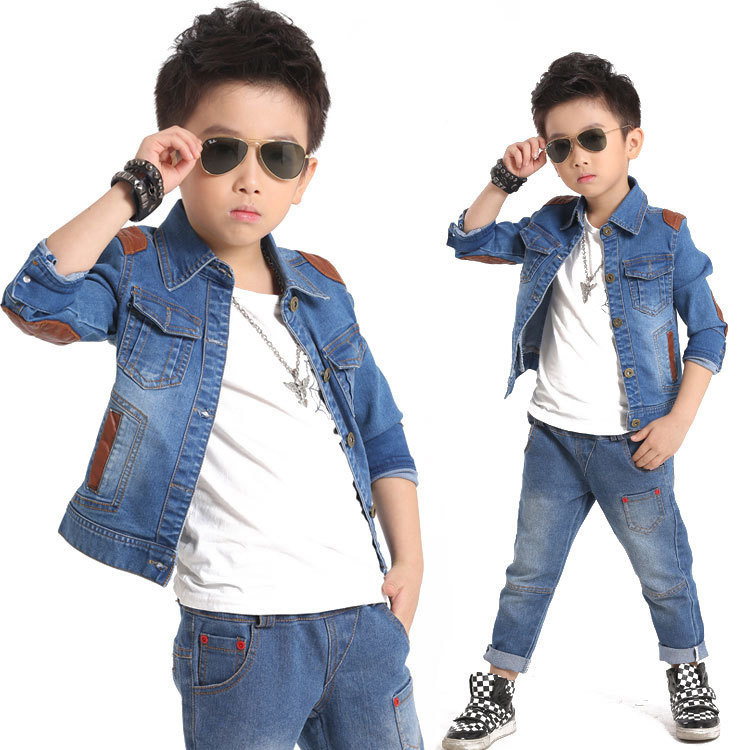 2016 Brand New Kids Denim Jeans Set for Boys Fashion Children Denim Jacket + Jeans Streetwear Boys Spring Jeans Sports Suit,C045 2016 new hi street slim fit ripped jeans for men washed distressed denim joggers brand designer jeans pants with ankle sizem xxl