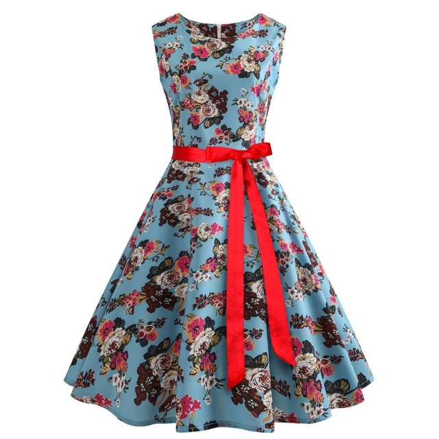 528ce453d641b3e Classical Large Size Women S Summer Blue Dresses Round Neck Sleeveless  Small Floral Print Large Dress