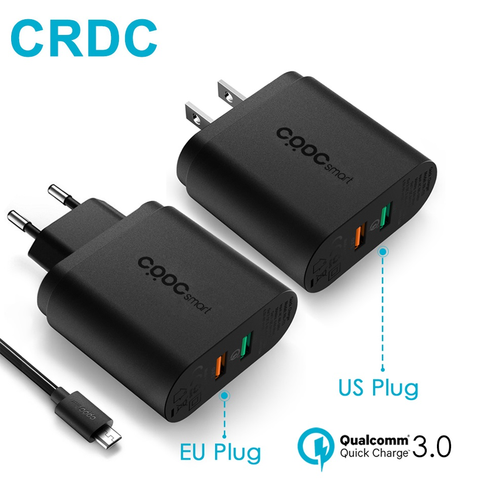 CRDC For Qualcomm QC 3.0/Quick Charge 3.0 Mobile Phone Usb Fast Charger for Samsung S8 LG G5 iPhone Xiaomi Mi5,QC 2.0 Compatible