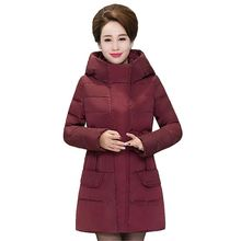 2017 Winter New Middle-aged Women Down Jacket Coat Women Medium lengthy Big yards Thicken Hooded jacket High Quality Coat G2006