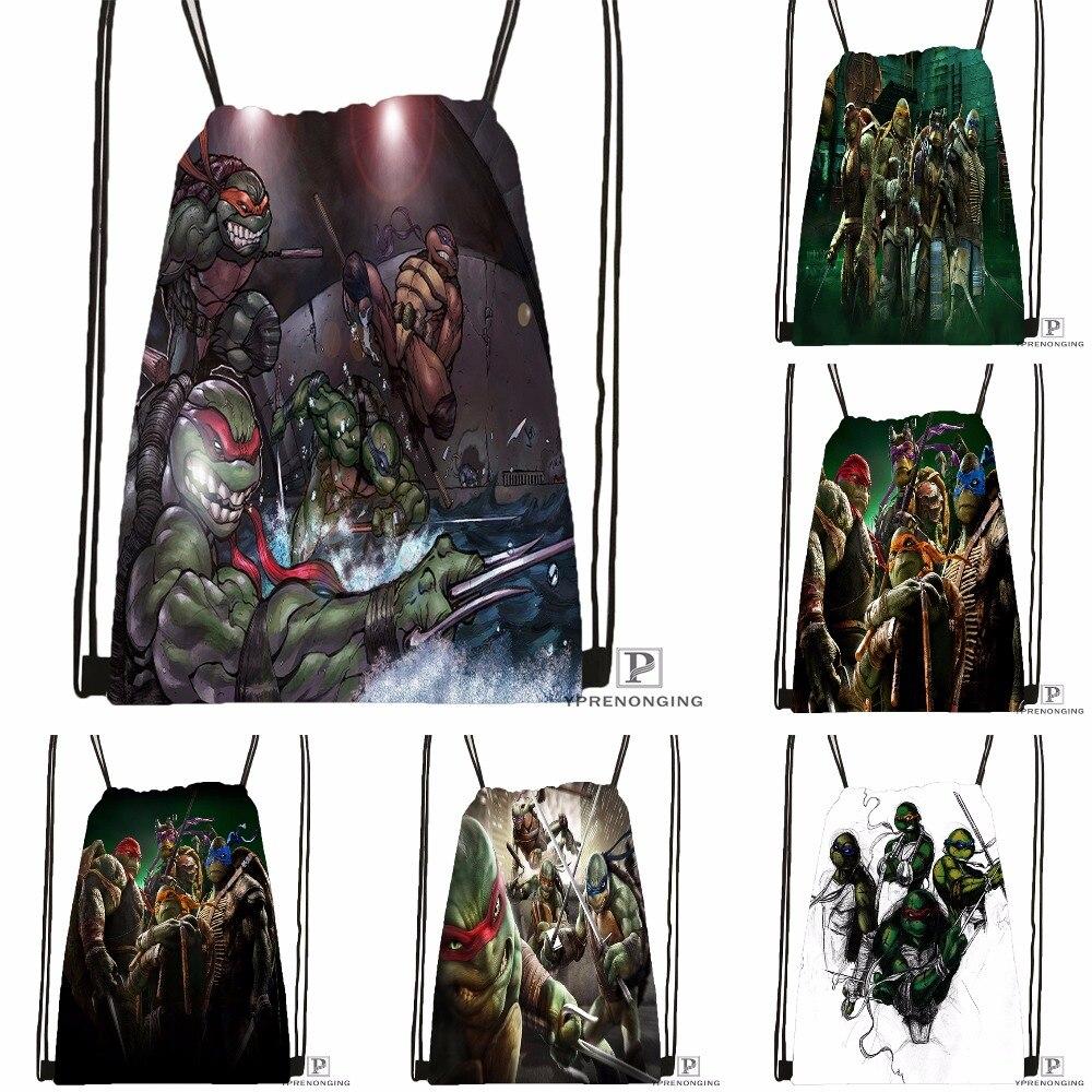 Custom Teenage Mutant Ninja Turtles Drawstring Backpack Bag Cute Daypack Kids Satchel (Black Back) 31x40cm#180531-04-38