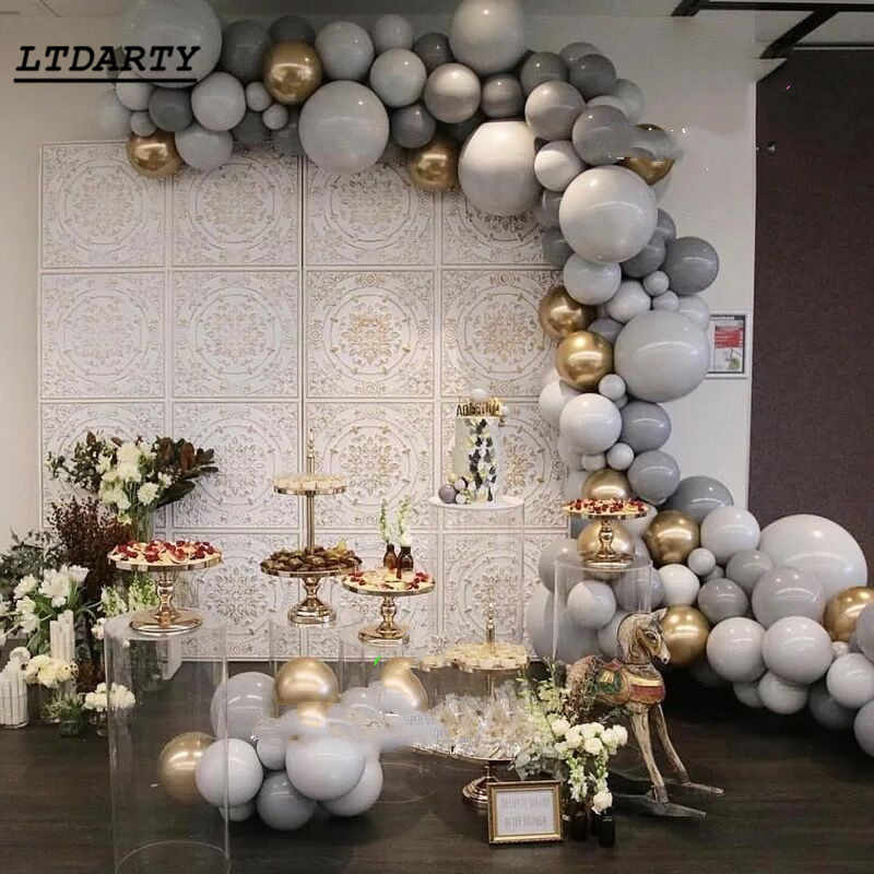 20pcs/lot Grey Latex Balloon 10inch 12inch Gray Party Balloons Wedding Birthday Party Balloon Baby Shower decorations supplies