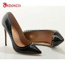 Okhotcn 12CM Women's Pumps Fashion Pointy Toe Thin High Heels Women Shoes Studded Rivets Black Spikes Shoes Party Wedding