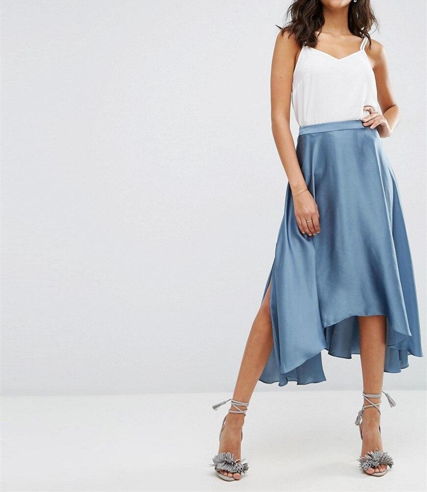 midi skirt in satin with splices autumn plus size
