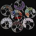 UMY Popular Silver Plated Mixed Quartz Gravel Chakra Wisdom Tree Life Pendant Fashion Jewelry