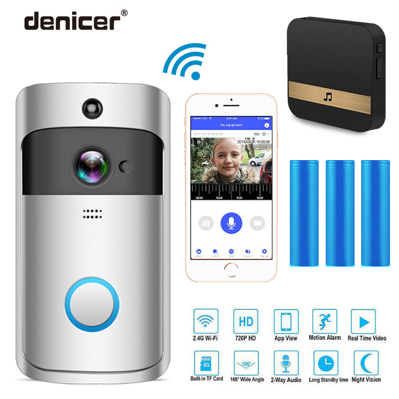 Denicer Smart IP Video Intercom WIFI Video Ring Phone Door Bell Cam WIFI Doorbell Camera Home Alarm Wireless Security Camera
