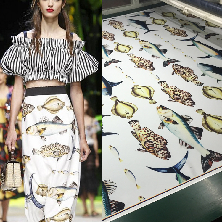 2018 top digital printing small fish fashion fabric skirt shirt diy printing cloth factory direct sales