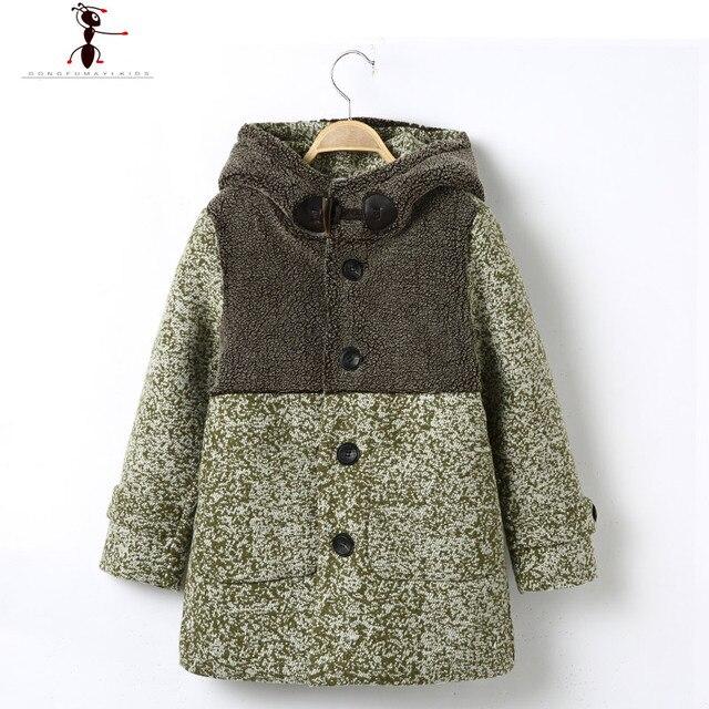 2016 Мода Капюшоном Лоскутные Мальчики Шерстяное манто детей детская Одежда Однобортный Пальто 2556