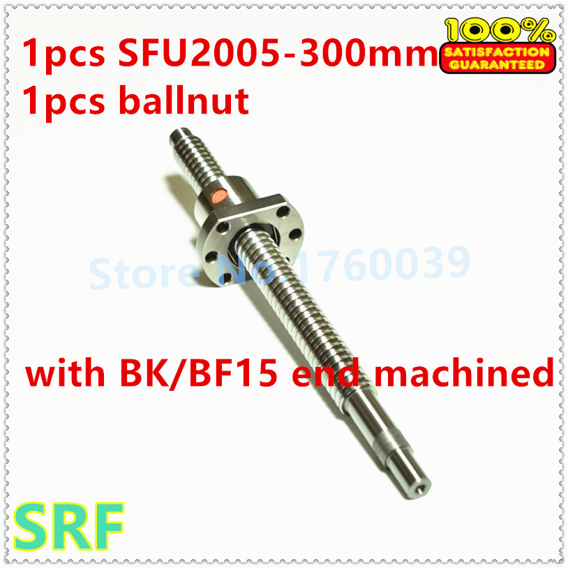 1pcs 20mm diameter RM2005 L=300mm Rolled Ball screw + SFU2005 single Ballnut with BK/BF15 end processing
