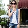 Большой размер 4XL 3XL 2XL xl-бесплатная высокие Qualtiy женщин джинсовые жилеты новый 2016 осень рукавов кнопка мода джинсы жилет топы 1601-68E