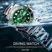 LOREO الرياضية الغوص سلسلة 200M للماء الميكانيكية ووتش الرجال 316L ساعات الفولاذ مضيئة النورس التلقائي ووتش