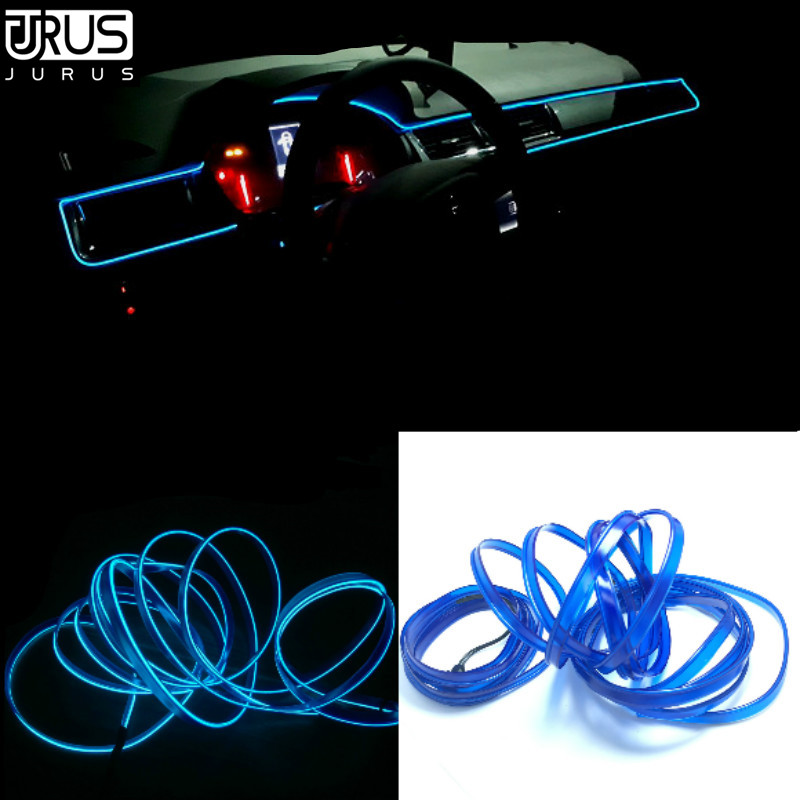JURUS El Wire 3Meter Refit Interior Light Flexible Neon El Light Tape Tube Glow 12V Led