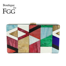 Boutique De FGG Geometric Patchwork Multi Color Acrylic Evening Clutch Box Bag Hard Case Women Chain Shoulder Handbag Purse