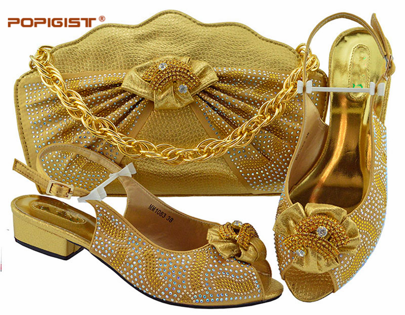 Gold 2019 Buckle Strap Short Pumps 3 5cm High Quality African Matching Shoes and Bag Set