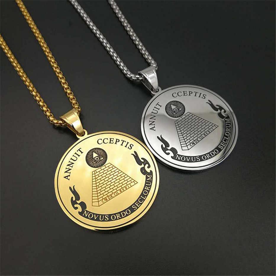 Hip Hop Ronde Coin Alziende Oog Van Voorzienigheid Hangers Kettingen Voor Vrouwen/Mannen Gouden Kleur Rvs Vrijmetselaars sieraden