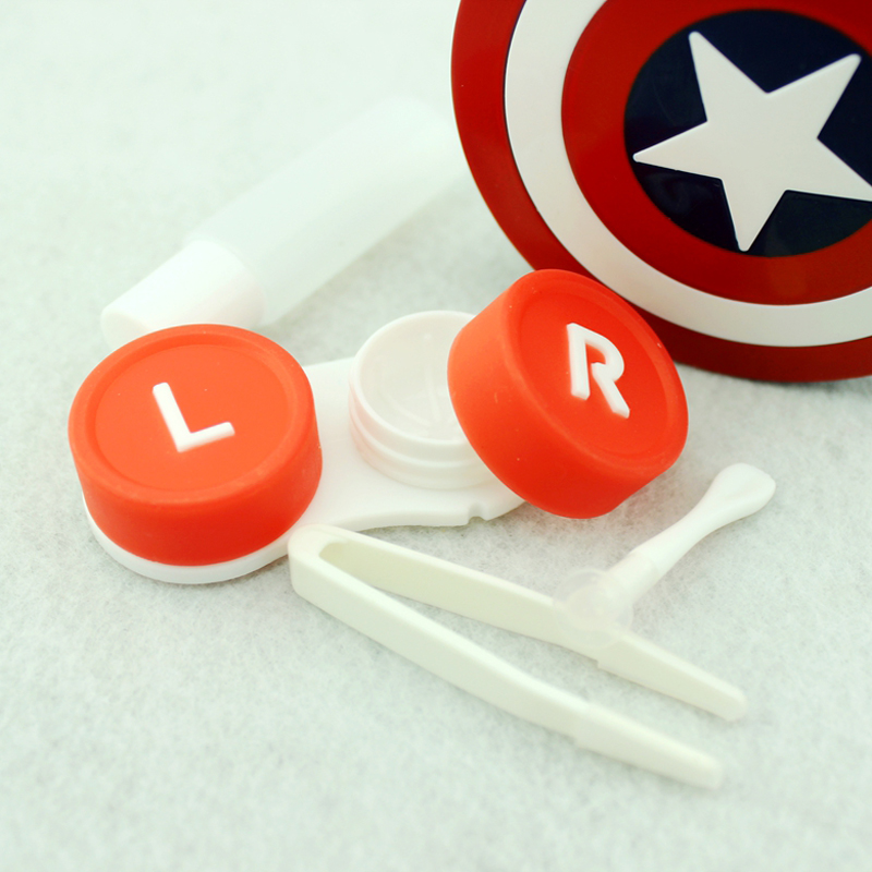 Hot Captain America Contact Lens Case With Mirror Contact Lenses Box Container For Lenses Birthday Gift For Girls and Boys 5