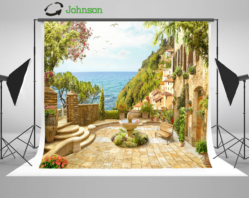 Flower Garden Coastal Patio Sea White Clouds background polyester or Vinyl cloth High quality Computer print wedding backdrop