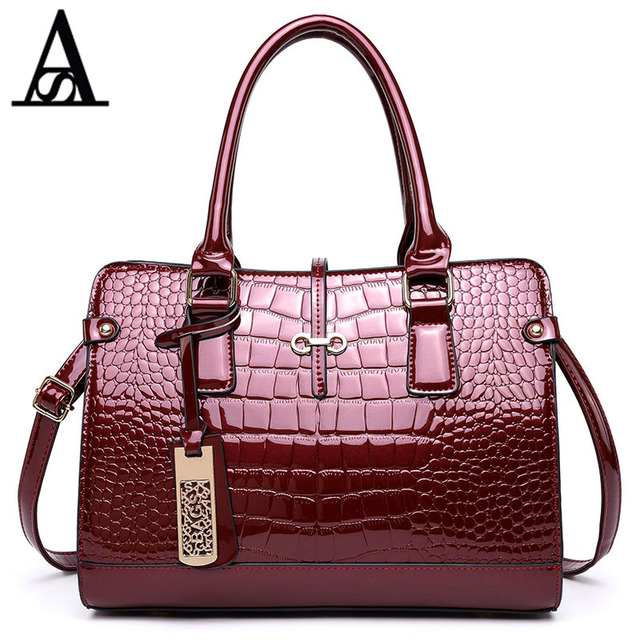 Aitesen Women Luxury Handbags Fashion Alligator High Quality Patent Leather Shoulder Bags Las Tote Michael