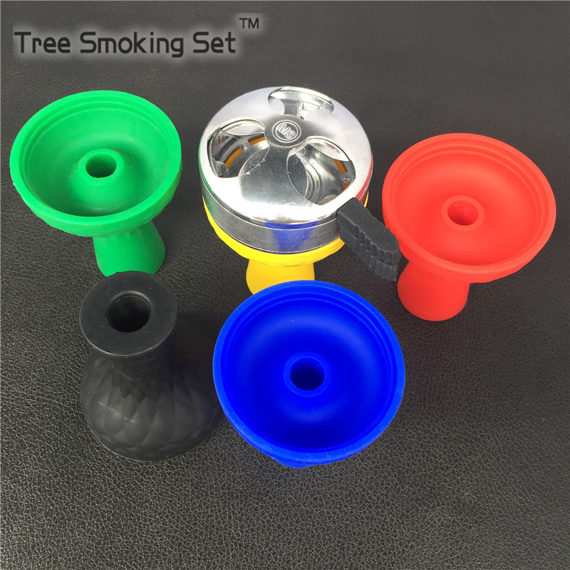 1pc Silicone Hookah Bowl 1pc Silver White Charcoal Holder For Hookah Smoking Charcoal Holder Hookah 5 Color Silicone Bowl MS