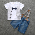 Hello Bobo 2017 children's clothing set baby boys bowknot shirt+ strap jean 2-piece suit set Girl Clothes