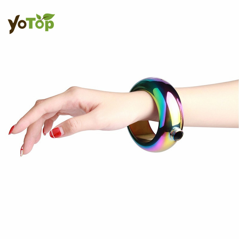 YOTOP 100ML font b Bangle b font Bracelet Shaped Stainless Steel Wine Hip Flask Outdoor Fitness