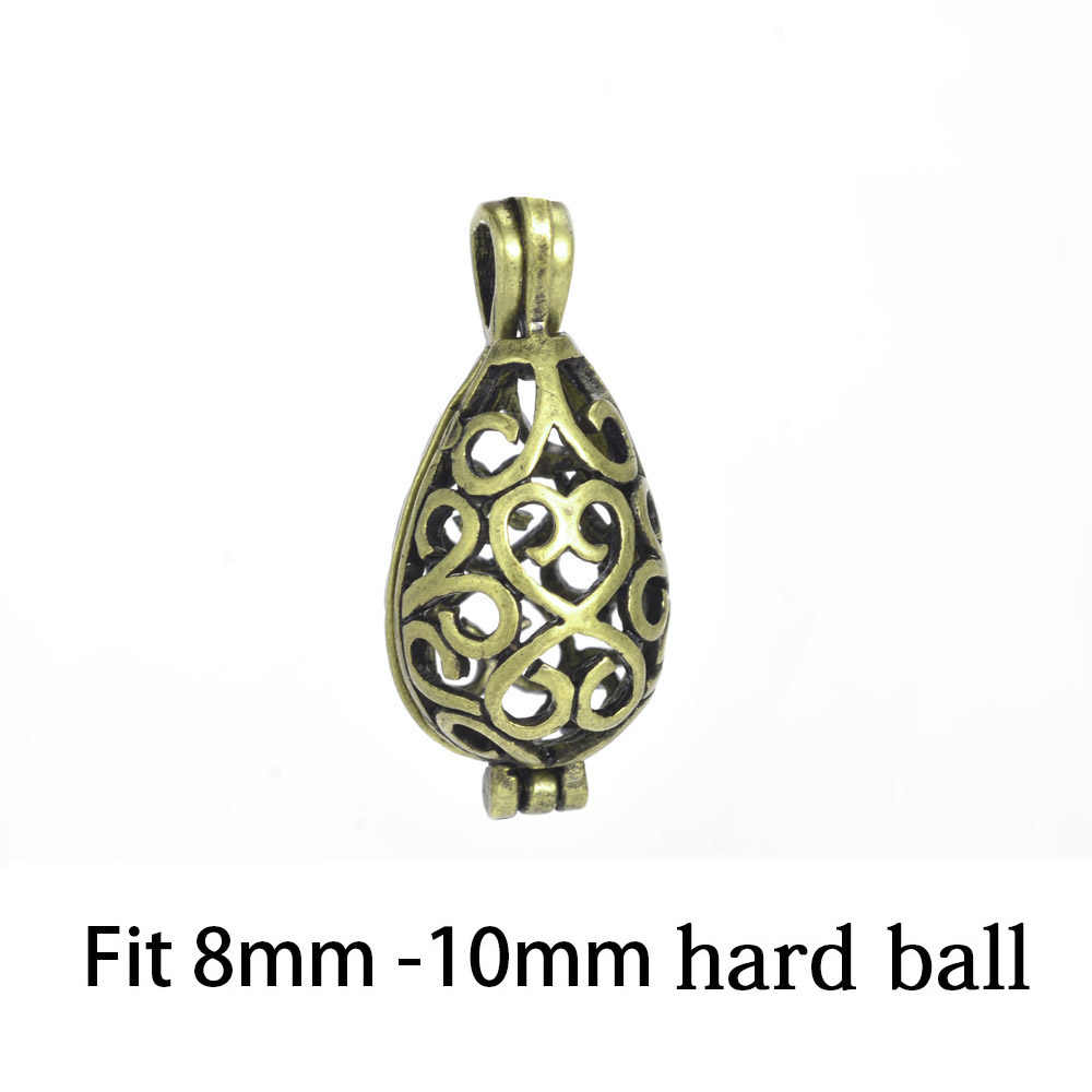 Perfume Aromatherapy Essential Oil Diffuser Necklace Locket Pendant Glass Pearl Cage Antique Bronze Locket For DIY Jewelry