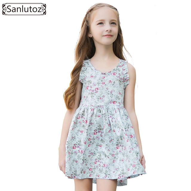 00f0dc4d6c2b9 Sanlutoz Girl Dress Summer Flower Kids Dress for Girls 2018 Cotton Kids  Clothes Beach Birthday Party Princess Clothes