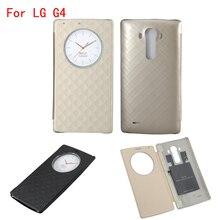 Быстрый круг case для lg g4 флип кожаный крышка батарейного отсека nfc беспроводной зарядки для lg g4 h815 телефон случаях с смарт-чип