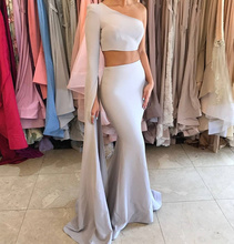 de fiesta 2017 sexy two pieces one shoulder satin mermaid evening dresses  2017 women's party gowns handwork