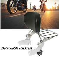 Motorcycle Black Luggage Rack Rear Passenger Backrest Sissy Bar Cushion Pad For Harley Electra Street Road