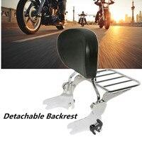 Motorcycle Black Luggage Rack Rear Passenger Backrest Sissy Bar Cushion Pad For Harley Electra Street Road