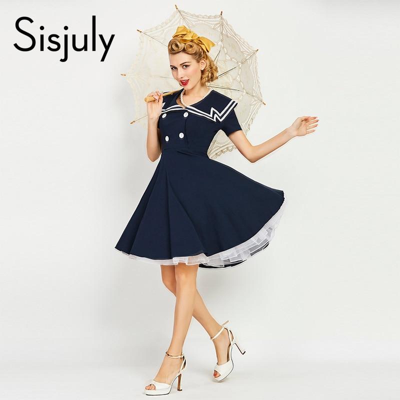 Sisjuly Women Luxury Vintage Dress Nautical Style Striped Patchwork Button Retro Dress Summer Women Dresses Retro
