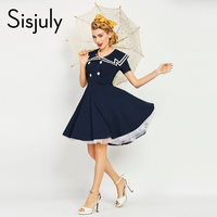 Sisjuly Women Luxury Vintage Dress Nautical Style Striped Patchwork Button Retro Dress Summer Women Dresses Retro