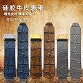 25mm * 19mm (lug) dos homens azul marrom garyleather + Alligator Padrão de Borracha Faixa de Relógio Strap com Implantação Buckle CLASP Para MARCA