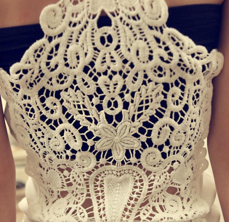 Sexy Summer White Black Women Crochet Lace Tank Top Fashion Back