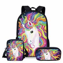 Colorful Unicorn School Bag Set for Teenage Girls Cute Junio