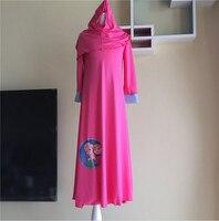 Girls Elsa Anna Dress 2016 New Style Kids Girl Muslim Lslamic Nation Prayer Clothes Dress Scarf