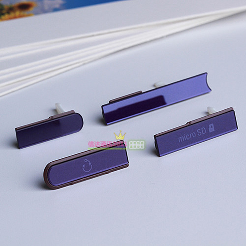100% New Waterproof Micro SD Card Dust plug + Sim Card Slot Port Caps + Charging USB Cover For Sony Xperia Z L36h C6602 C6603