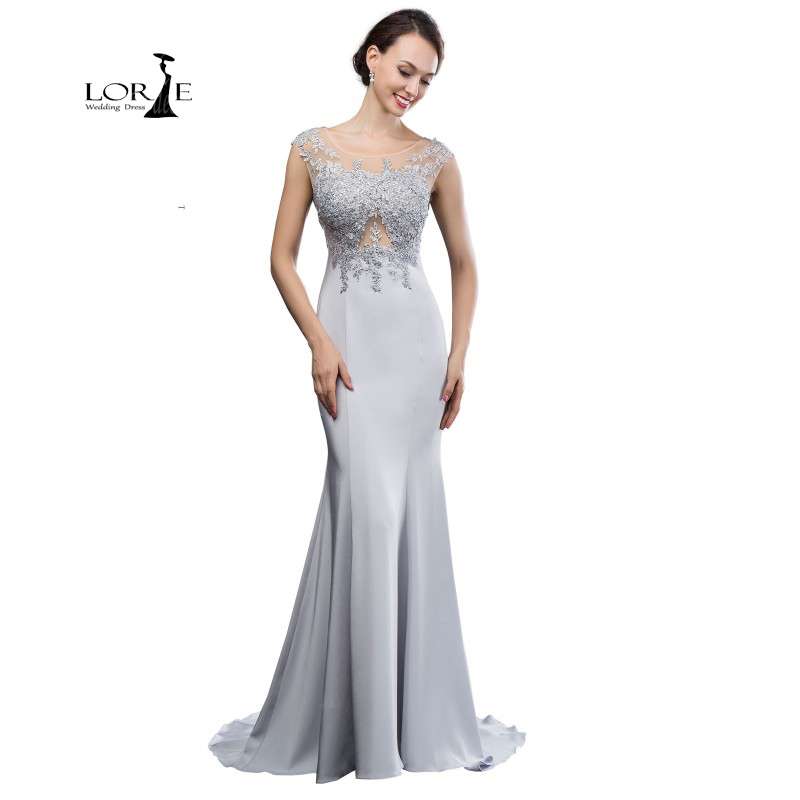 Abendkleider Lange Long Silver Dresses 2017 Mermaid ...